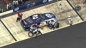 NASCAR Brad Keselowski near miss on pit road. Pocono 2013