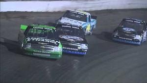Austin Dillon passes Kyle Larson for the lead at Eldora | 2013