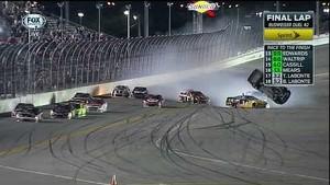 2014 Duels at Daytona finish Clint Bowyer flips and crashes