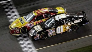 2/18/07 - Daytona - Harvick wins, Bowyer crosses on his hood in the Daytona 500
