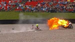 Johann Zarco's Bike Becomes Flying Fireball - Moto2 German GP 2014