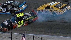 Wheel falls off Sieg's car, collects Lajoie