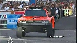 Robby Gordon hits the ramp at Ceremonial Start