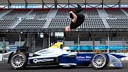 Damien Walters effectue un back-flip au-dessus d'une Formule E à 100 km/h