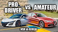 Pro driver vs Amateur - Acura NSX vs Alfa Romeo Giulia Quadrifoglio