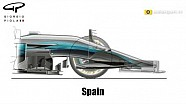 Mercedes W08 Nose & Bargeboard evolution 2D