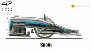 Еволюція носового обтічника та бічних дефлекторів Mercedes W08 у 2D