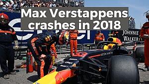 De crashes van Max Verstappen in 2018